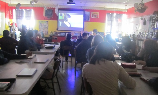 Devorah again? Meridian High school junior students are watching a video that prepares them for ACT testing. The juniors have been using different techniques to prepare them other than just the videos.