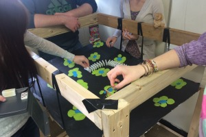 """The animal team works on their Rube Goldberg machine together on a Friday work day in physics class, """"We're setting up dominoes for one of our energy transfers, it's going to knock down a deer,"""" said Emily Luka."""