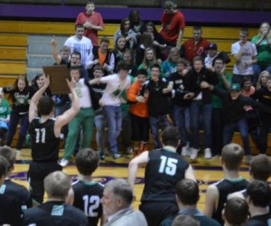 The Mayhem goes wild after the regional win. Senior Brock Snarski holds up the 2014 regional award as he faces the Meridian Mayhem. Meridian beat Auburn High School and advanced to sectionals where they played at home against the Porta Blue Jays.
