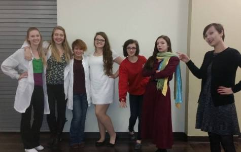High School (non) Musical cast members promote their show by wearing costumes to school. Meridian Drama Club will perform their fall comedy on November 14 & 15 @ 7 p.m. The play will take place at Decatur First Church of the Nazarene, 1177 W. Hickory Point Rd., Decatur (as the high school does not currently have a stage). Amy Aukamp, who has three roles in the show and plays basketball, states,