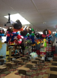 37 Years Worth of Building. Students at Meridian work hard to perfect their pinatas. They had two weeks to produce their best work. Senior Maggie Comerford said,