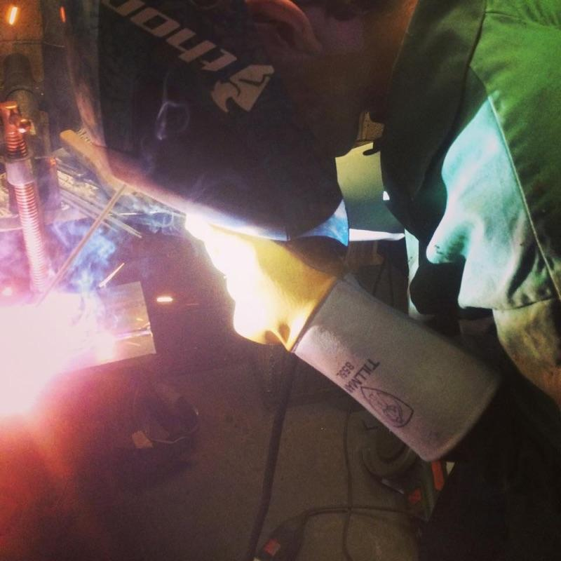 Cover your eyes! John Plotner doing what he does best-welding. John goes to Tech Academy for welding, but he has taught himself a lot.