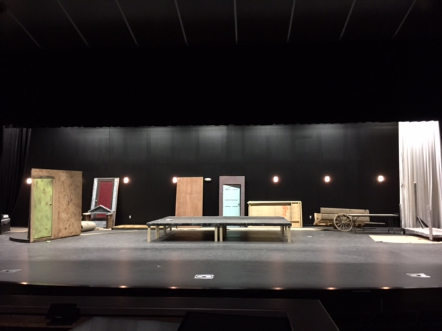 Rock and roll. The lights are shinning on the pieces of the set for the musical Rock of ages. The show will be performed on March 4th and 5th in the new auditorium.