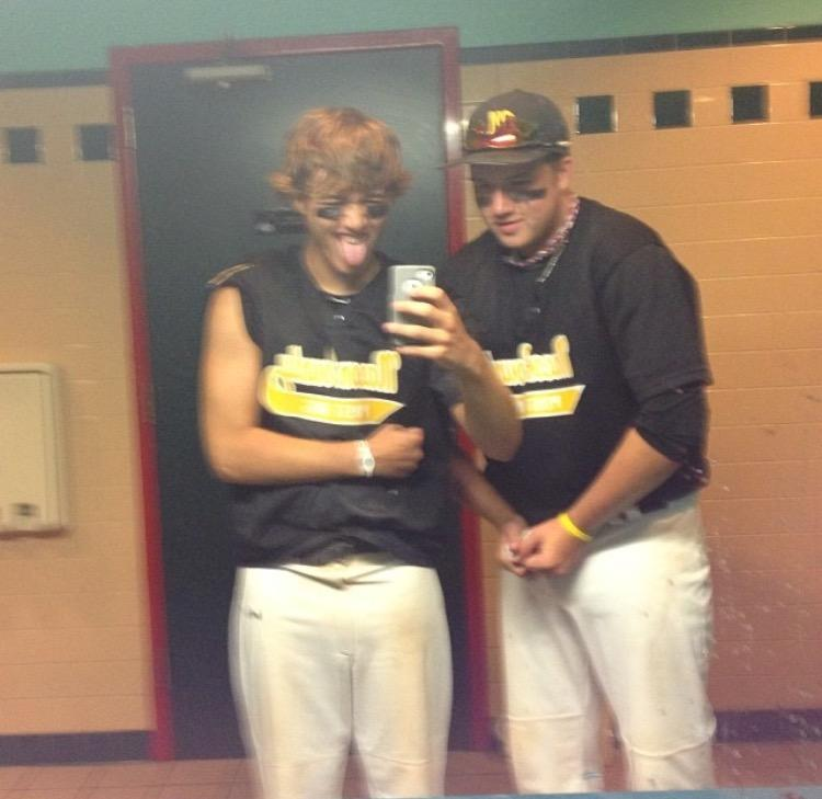 Twinsies! Hayden Damery and Kolby Ohl wearing matching uniforms for their baseball season. This is the summer league team which allows them the opportunity to play together.