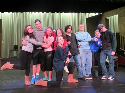 """Just like family. Seniors have fun on the set of the musical. The drama club has brought people closer together. """"Drama has brought me so many friends I never thought I'd have."""" Audrey Durbin says."""