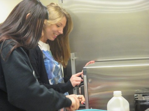 Finally! Students Nikki Cromwell and Brittany Adams are next in line to use the solo microwave. Students wait for as long as fifteen minutes to use this coveted appliance. Cromwell says, I always feel bad when I make everyone wait for my soup to cook.