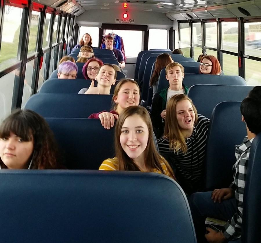 Two+hours+later...+The+Drama+Club+piled+into+the+Meridian+school+bus+to+compete+at+the+Drama+Sectionals.+The+students+would+arrive+at+Belleville+West+High+School+after+a+two+hour+long+bus+ride.+Junior+Andrea+Ricker+says%2C+%22We+listened+to+showtunes+throughout+the+ride.%22