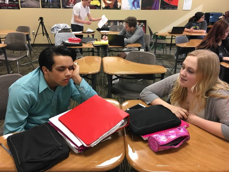 Spring break plans. Seniors, Lauren Duffer and Travis Robinson sit down and discuss their plans for the break. The friends have hung out over the previous breaks this year.