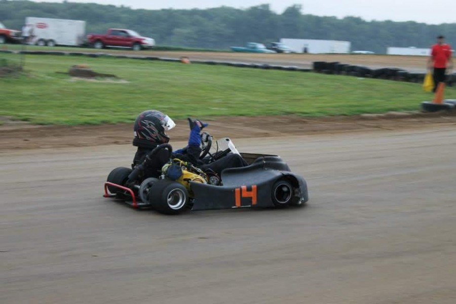 Too fast for you! Damery racing his Kart.