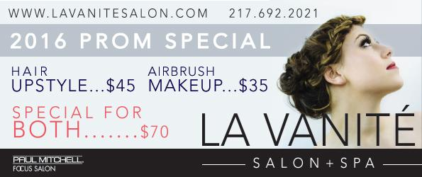 Prom special! La Vanité Salon is offering special discounts for the 2016 prom season. Make sure you schedule an appointment for prom, April 30.