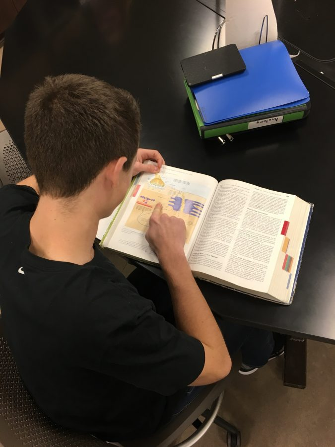 Shhhhhh! Junior Nick Johnson is studying for his 6th hour Anatomy exam. Johnson did well and finished with an A in the class.