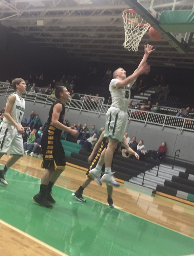 Layne Kircher scoring the 100th point against Edinburg, and his 48th individual point on senior night. He ended the night with 50 points a new Meridian record for points in one game.