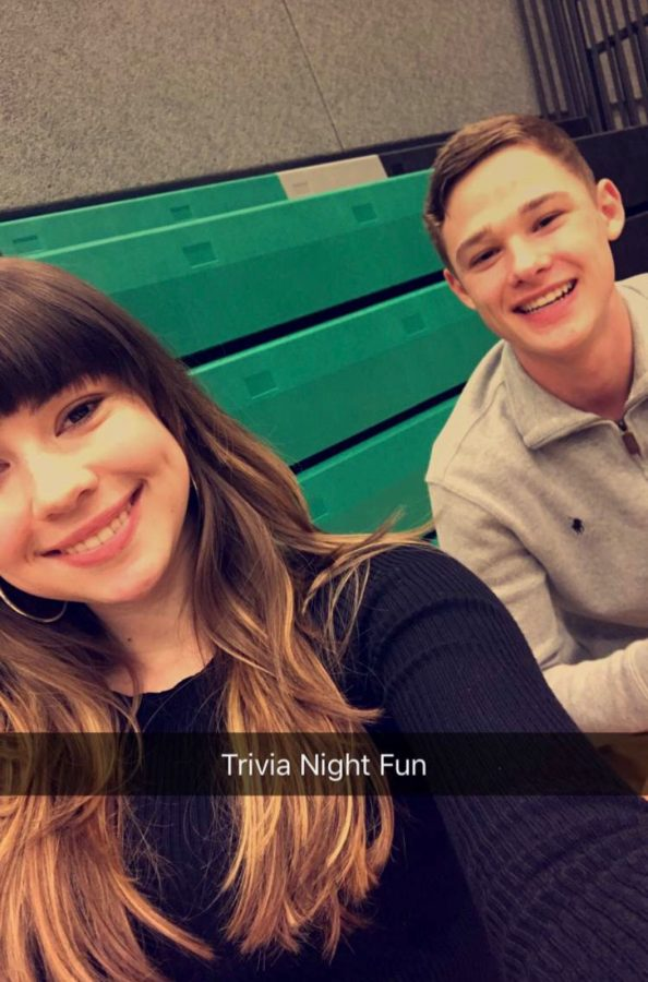 Trivia+Night+fun%21+Sydney+Camfield+and+Jake+Ripple+have+fun+while+working+at+trivia+night.+Camfield+and+Ripple+are+both+on+the+scholastic+bowl+team.+