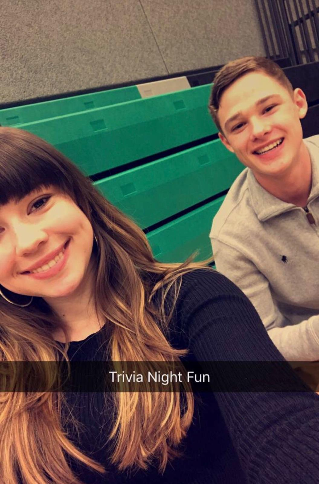 Trivia Night fun! Sydney Camfield and Jake Ripple have fun while working at trivia night. Camfield and Ripple are both on the scholastic bowl team.
