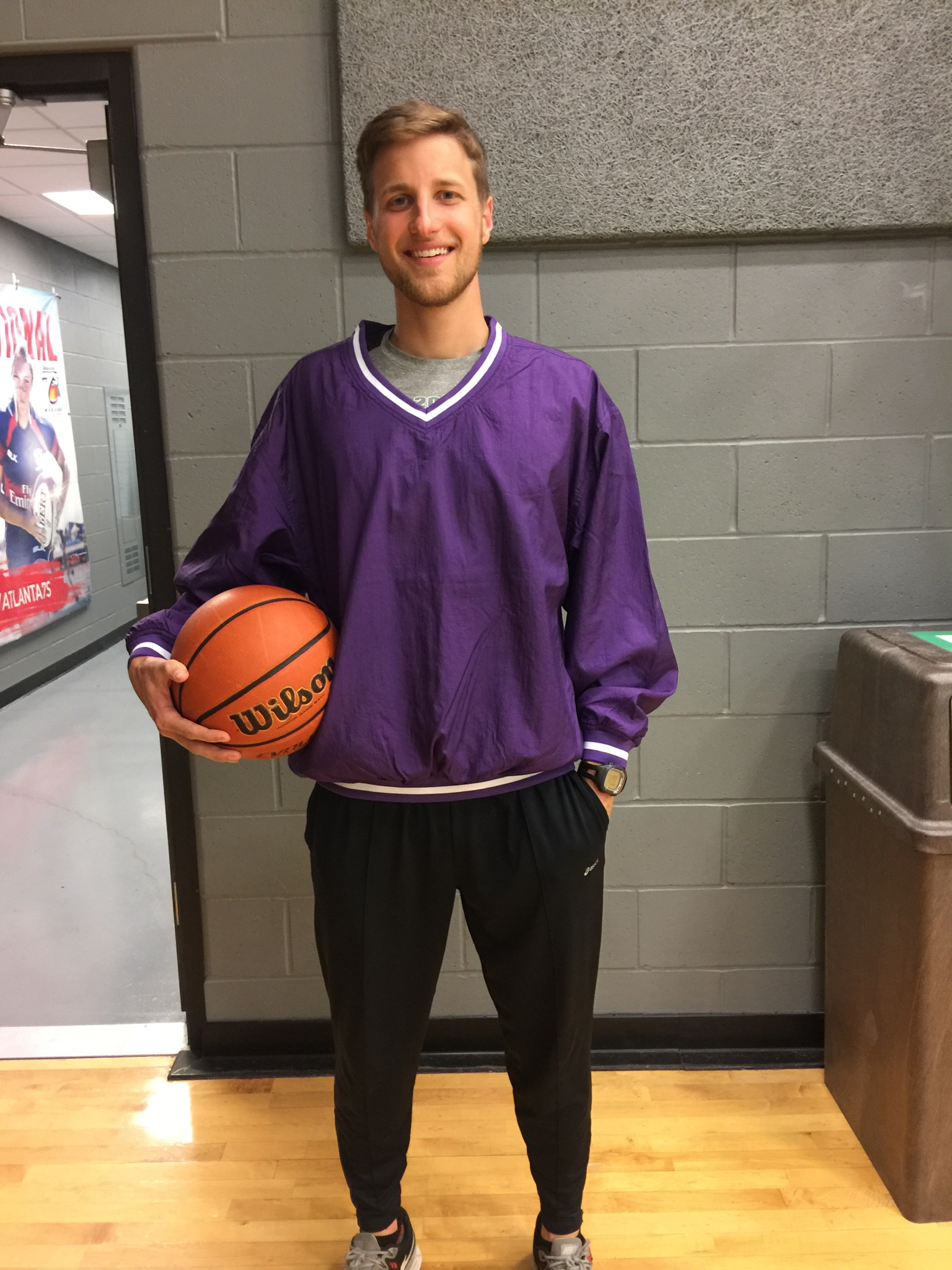 Shelbyville gains a great teacher starting next year. Tim McElroy is rocking his new purple gear, gift from cooperating teacher Denna Williams.
