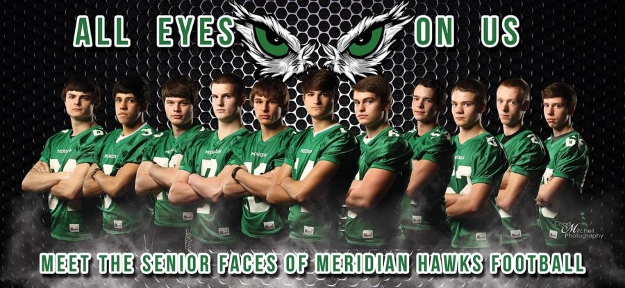 All eyes on us. Chad Mitchell created the billboard for the Meridian football team. This was part of a journalism Public Relations (PR) project. The billboard would have a big impact on not only the players, but also the cheerleaders, other students, the fans and the whole community, stated Maxwell.