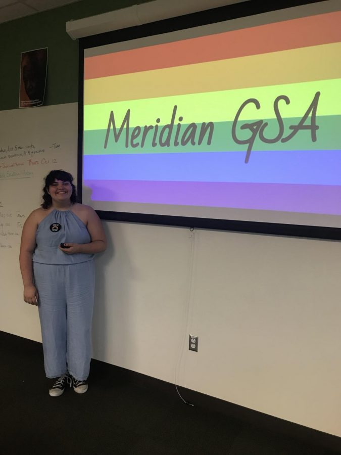 GSYay! Meridian held its first meeting for the Gay-Straight Alliance on October 12. Corryn Brock's pictured here showing her presentation of what to expect when participating in the club.