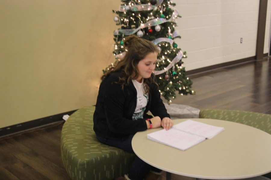 Exams are drawing near. Kaitlyn Parker studies for her U.S. History exam scheduled for Wednesday morning.