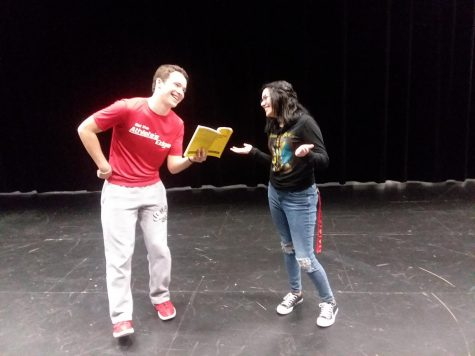 "Very good, Yah?! Senior Kaiden Damery rehearses his role as Hansel with sophomore Claire Palmer. Both earned lead roles in the upcoming play. ""I wanted to be involved in another play before senior year was over,"" says Damery."