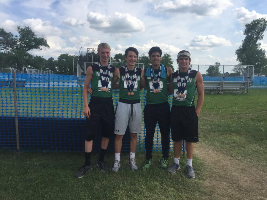 State medalists Korey Damery, Cameron Getz, Nate Durbin, and Marshall Brown, coached by Tony Klein in his last year at Meridian. This year, coach Micah Sheppard is taking over the program.
