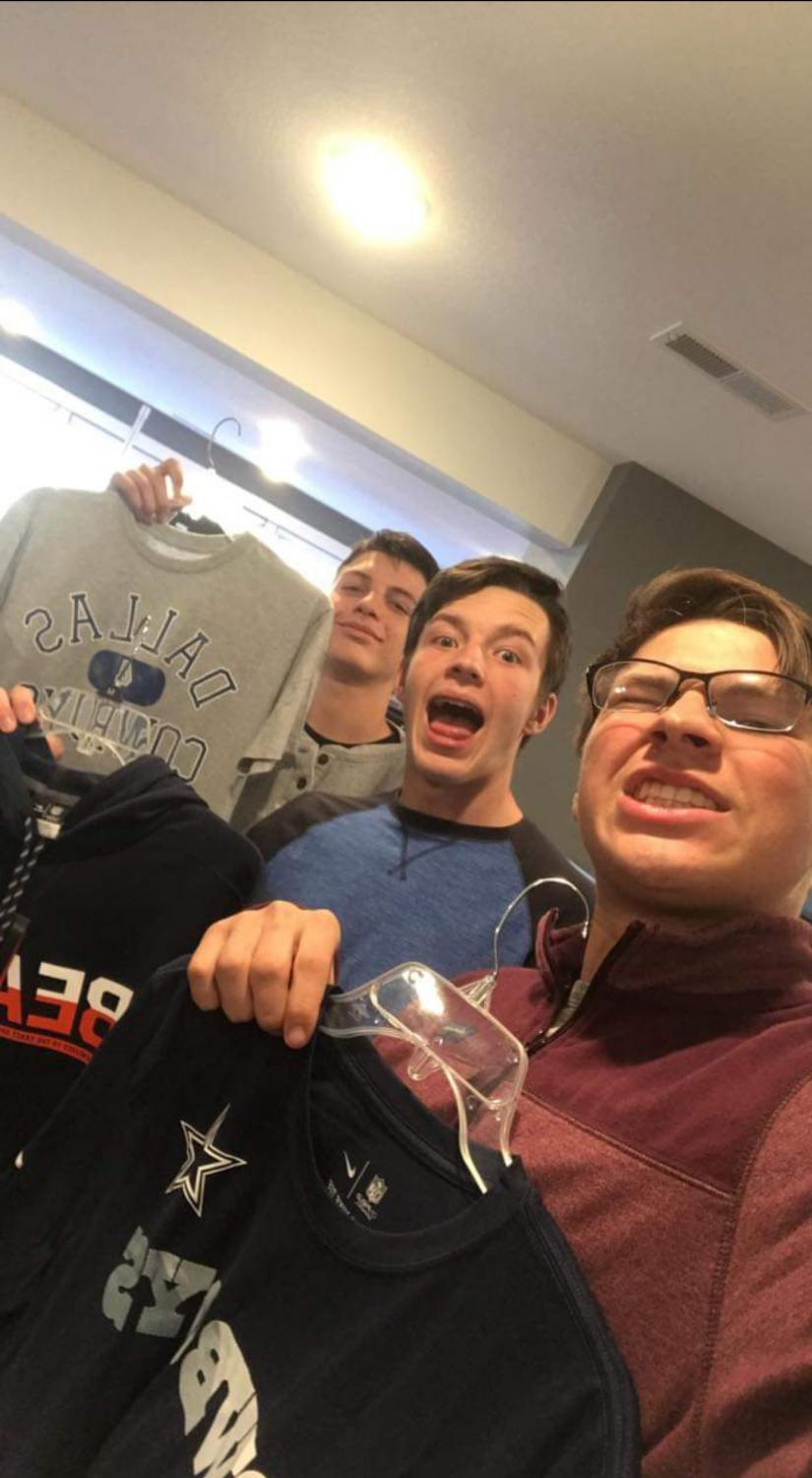 Tyler Schilz, Korey Damery and Cristian Scott take their attendance selfie. Every time they arrived at a new business, they had to take a picture to let their teacher know where they were. Each group posted their photo to a shared Facebook group to stay connected.