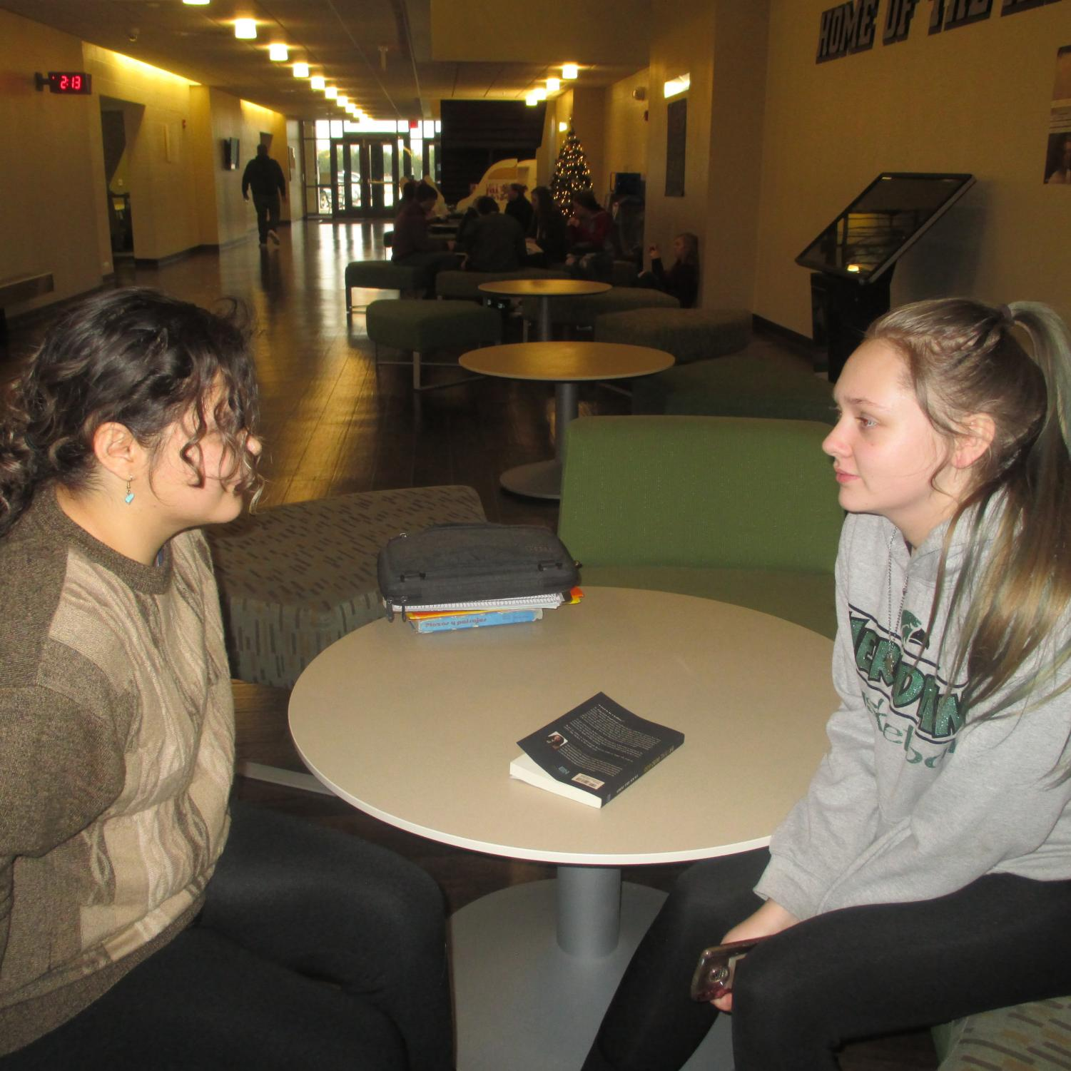 Sophomore debaters Haley Grimes and Crystal Sheumaker have a mean stare down weeks before the debate.  The debate will take place in December.