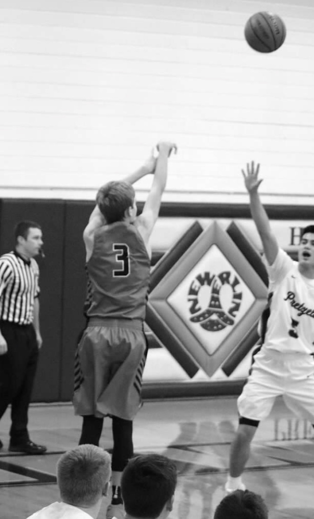 Garrett Meisenhelter drains a late game three-pointer to cut down New Berlin's lead.