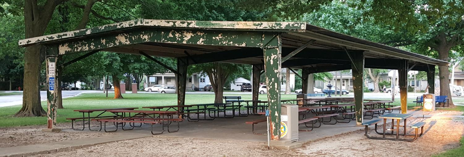 A change for the better. The Wise Park's pavilion in Blue Mound is taking away from the beauty of the rest of the park. The Blue Mound Park Board decided to update it to give the park a nicer look.