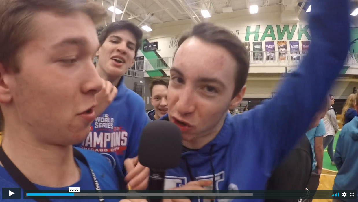 CASE ON THE STREET makes his debut in Meridian's gymnasium, covering Super Bowl predictions.