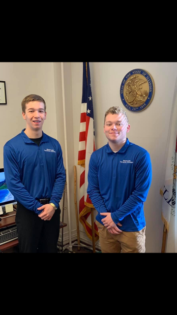 """Case Jaukkuri (Right) and Jacoby Clem (Left) are at the States Attorney office. This week's job shadow includes meeting Jay Scott and sitting in on his meetings with clients. Jaukkuri said, """"The clients were worried about us being in on the meeting, but a part of our job shadow we have a confidentiality agreement."""""""