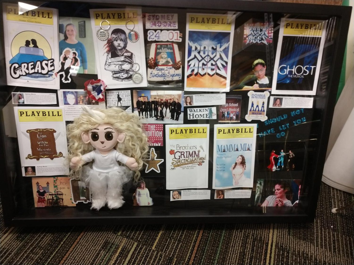 Sydney Moore's shadow box for her senior send-off. Seniors receive a shadow box at the closing of their final Meridian show. Non-senior drama members create and present this special gift for their friends.