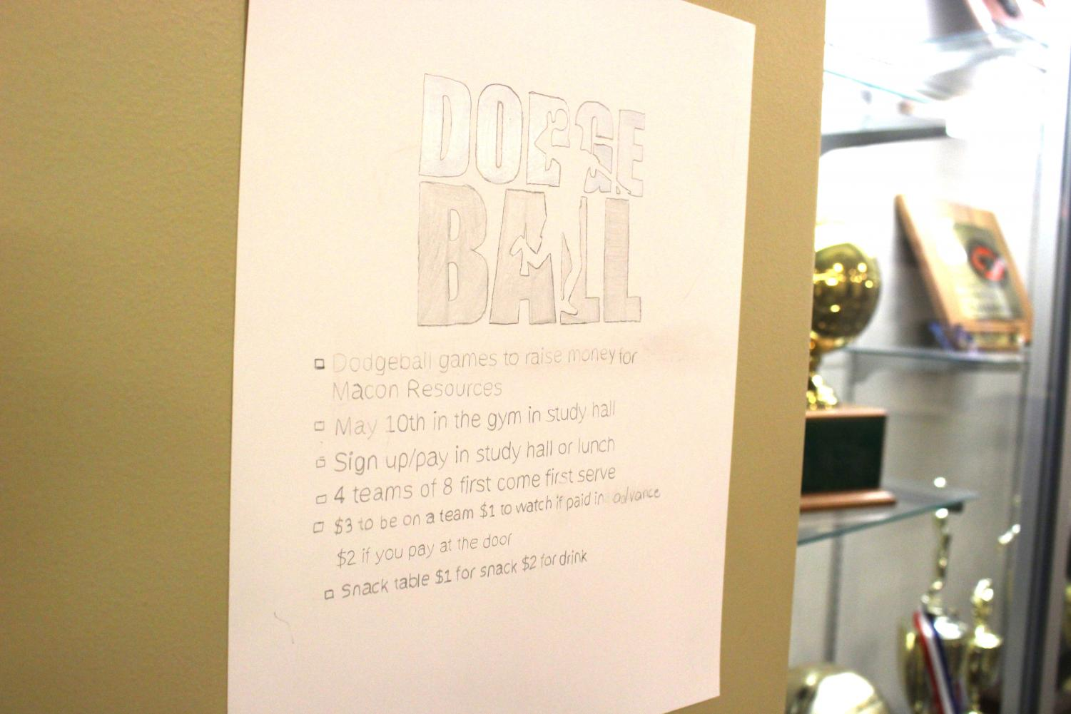 Juniors prepare a dodge ball tournament in order to raise money for Macon Resources. Tournament will be held May 10 during study hall in the gym.