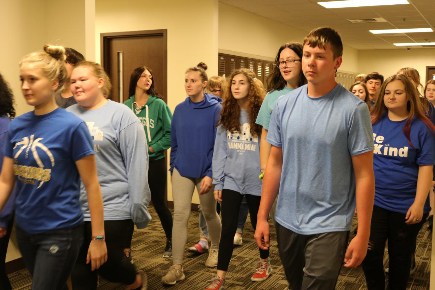 Students at Meridian support Sullivan High School and Tyson Mendoza by wearing blue on Sept. 30.