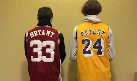 "In remembrance, Tyler Ward and Gage Wiseman stand together in their Kobe Bryant jerseys. ""I"