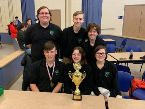 Meridian Junior Vasity Scholastic Bowl Team won second place at Macon County Tournament and given individual medals and a trophy to account for their accomplishment. Keagan Kantor went on to receive an additional honor as he was awarded second place on the all-tournament Macon County tournament team.