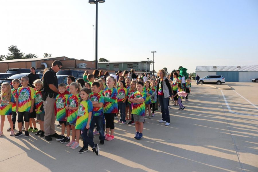 Students are ready for the walk around Blue Mound for the annual walk-a-thon fundraiser. The elementary school does this fundraiser to help fund things throughout the school year for the students.