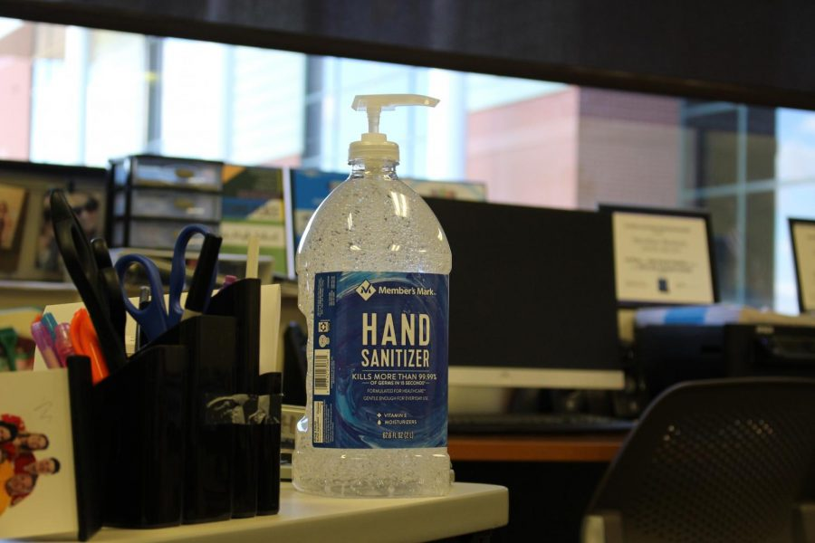 Big bottles of hand sanitizer have been given to teachers at Meridian High School to help prevent the spread of germs.