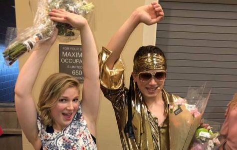 Hallie Gates and Keagan Kantor celebrate their performance after Mamma Mia.