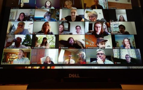 Illinois Journalism Education Association hosts a Zoom meeting to honor new members to the All-State Journalism Team. Meridian's Robert Le Cates (bottom right) was named as one of members for his work on Meridian Moments Yearbook and The Meridian Daily online news.