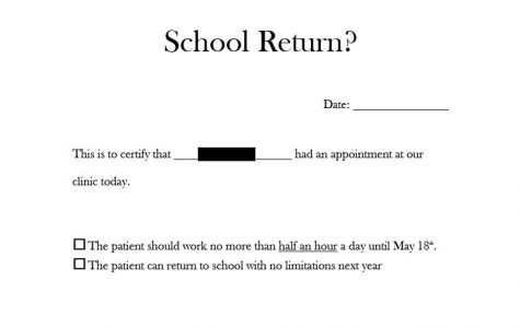 Fictional return to school doctor's note for a remote learner.