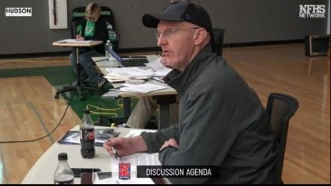 Screenshot taken by Victoria Muller from a School Board  Meeting at Meridian High School, in May 2020 from the NFHS network.  A presenter showed the new Agricultural program his project to the School Board members on the left. On the right, a picture of the  president of the School Board, Chris Jones.