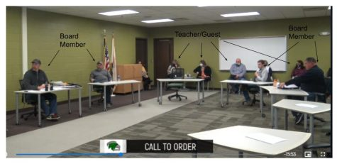 "Screenshot of the November Meridian CUSD 15 school board meeting. Some students question this  ""do as I say, not as I do"" message, as students have been told to wear a mask when they are in the building: hallways, classrooms, extracurricular activities."