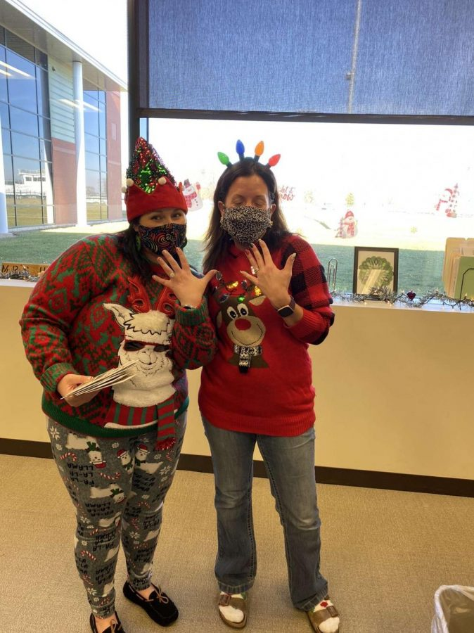 Thursday was Christmas Wear Day. Sheila Moore and Lee Hicks show off their festive Christmas attire. This day was one of the favorites throughout the high school staff.