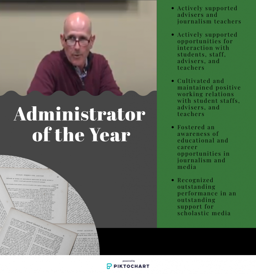 Mr. Hurelbrink is displayed in a graphic that describes what qualities he must have to become Administrator of the Year.
