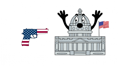 Cartoon by Victoria Muller of an American gun (symbolizes the citizens who assaulted the Capitol) targeting the American Capitol.