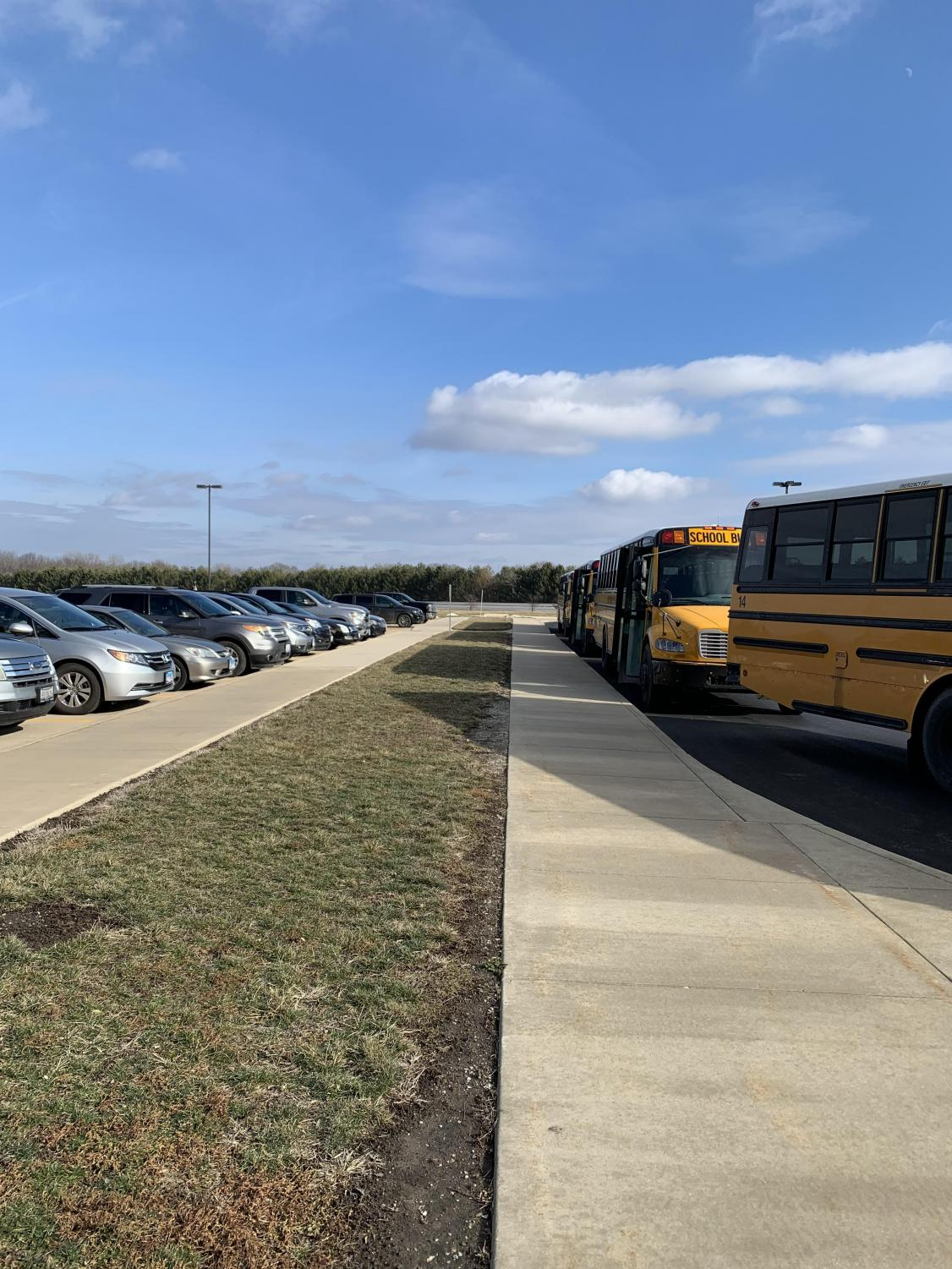 The school parking lot sits full for the first time since last November.