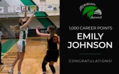 Emily Johnson shoots her 1000 point shot during the Lady Hawks senior night game against Teutopolis. Graphic by Kaleb Renfro.