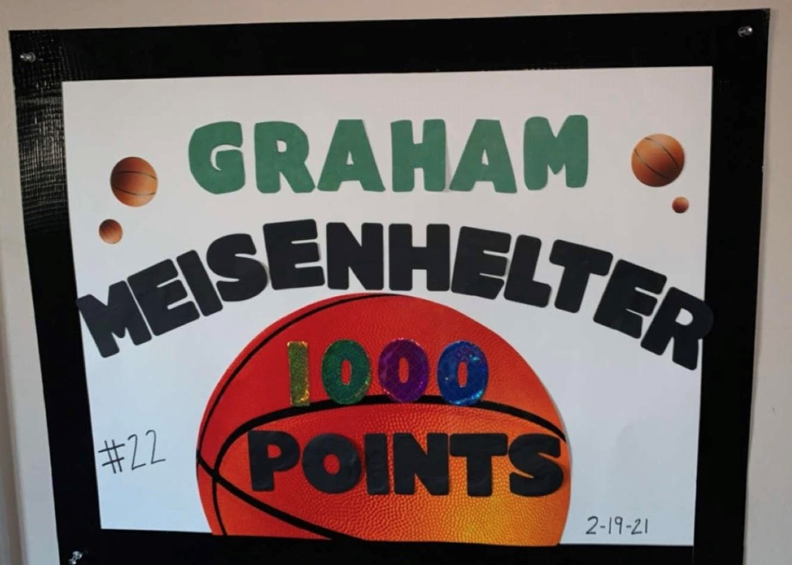Someone close to Graham Meisenhelter made this poster to cheer him on. Spectators are limited to only a few people so the poster was made to cheer him on while family and friends can